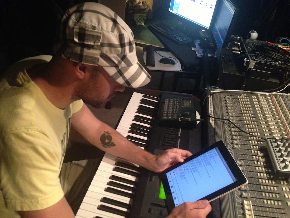 Mark Malagise of THRIFT interacting with Mental Note for iPad in the studio.